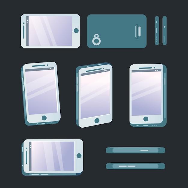 Telefon in verschiedenen winkeln Premium Vektoren