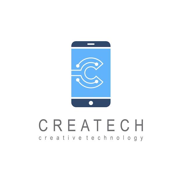 Telefon-logo mit buchstaben c für technologie und innovation Premium Vektoren