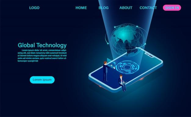Telefon mit globalem netzwerk. zielseite für internetverbindung und globales kommunikationskonzept Premium Vektoren