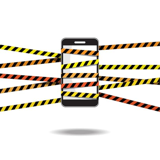 Telefon mit vorsicht band illustration Premium Vektoren