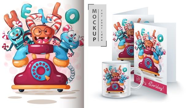 Telefon monster poster und merchandising Premium Vektoren