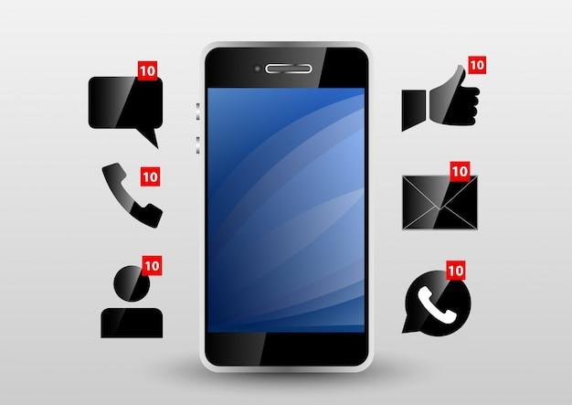 Telefonbenachrichtigung Premium Vektoren