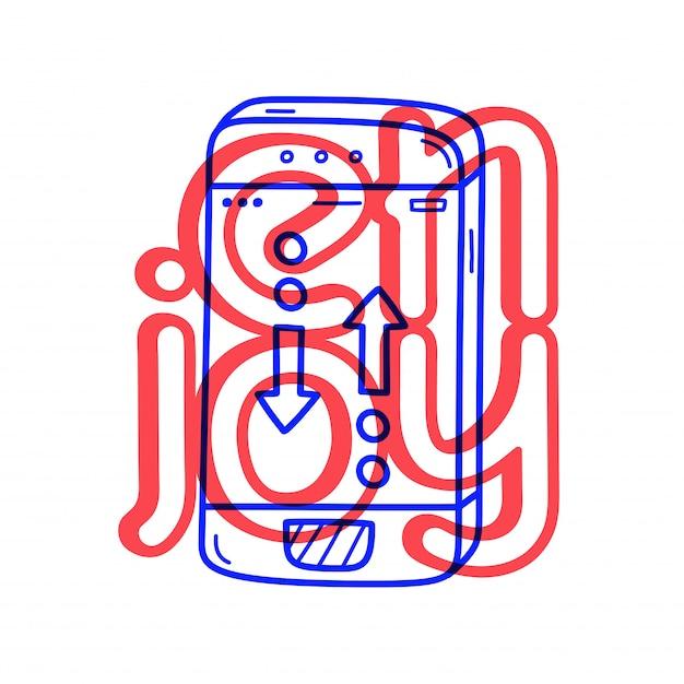 Telefongesprächsymbol des handabgehobenen betrages in der gekritzelart mit beschriftung. Premium Vektoren