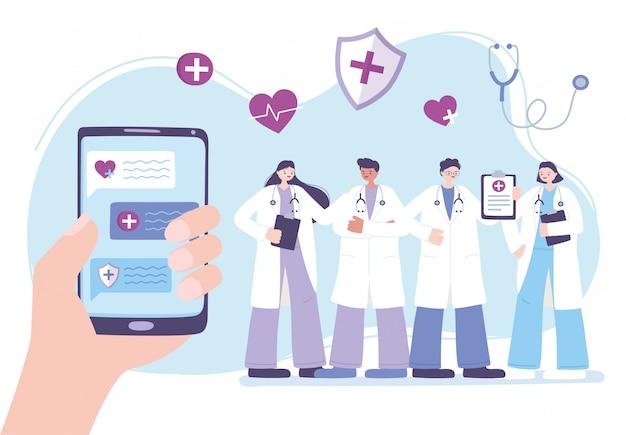 Telemedizin, hand mit smartphone-personal medizinische professionelle charakterberatung Premium Vektoren