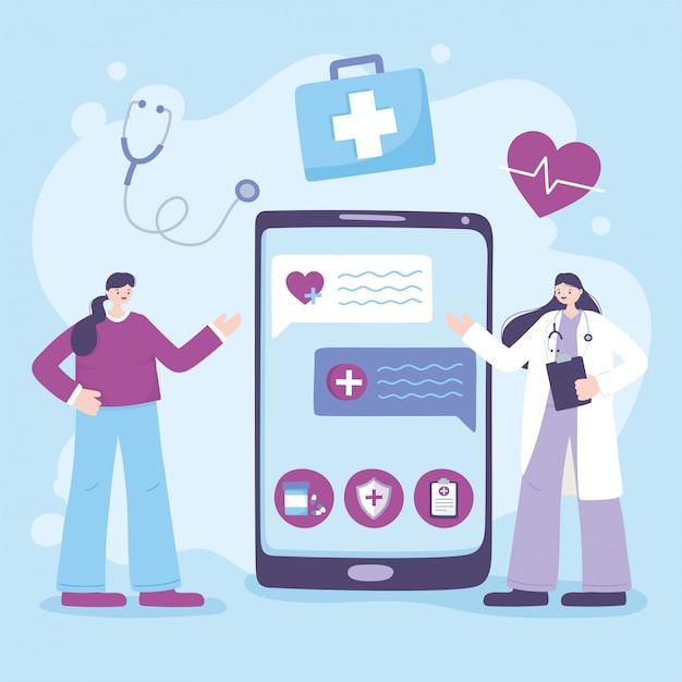 Telemedizin, smartphone-arzt geben beratung, online-diskussion mit dem patienten Premium Vektoren