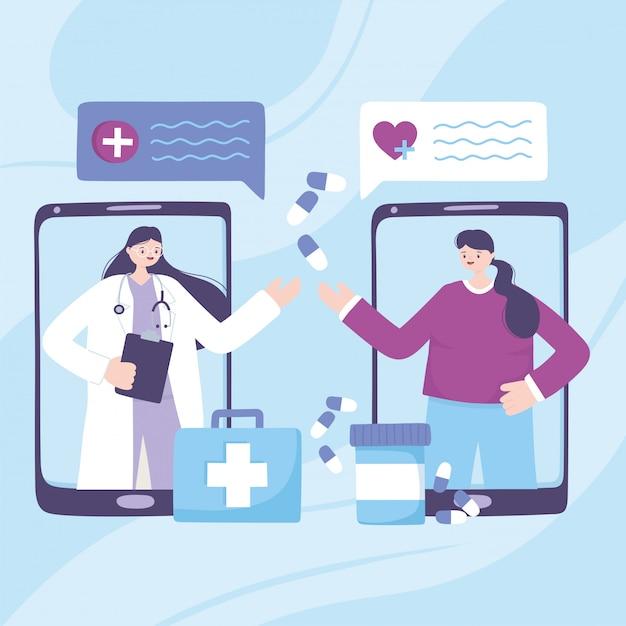 Telemedizin, smartphone-arzt und patient sprechen medikamente rezept Premium Vektoren