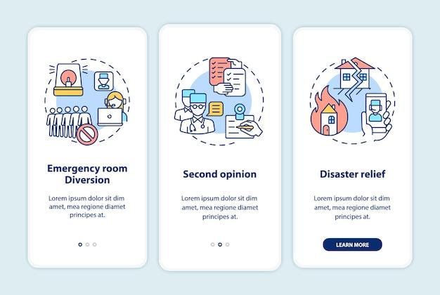 Telemedizinprofis integrieren den bildschirm der mobilen app-seite mit konzepten Premium Vektoren