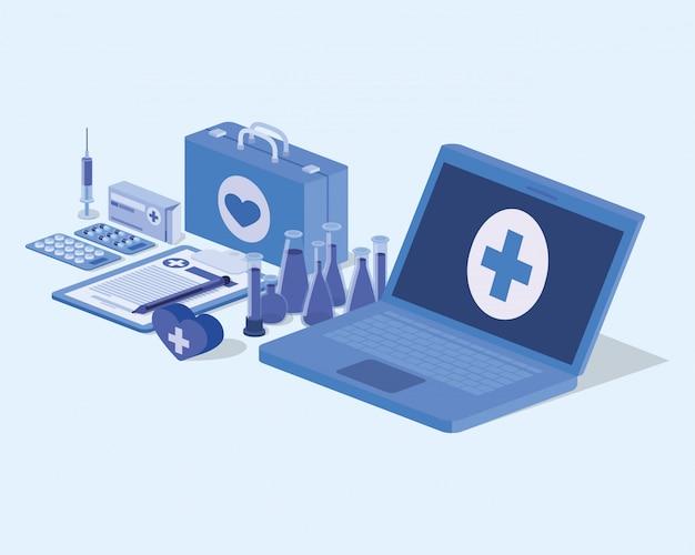 Telemedizinservice für laptops mit medizinischer ausrüstung und medikamenten Premium Vektoren