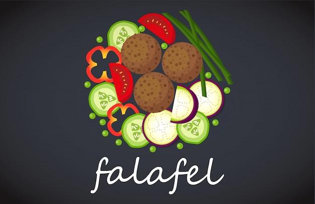 Teller mit falafel draufsicht. Premium Vektoren