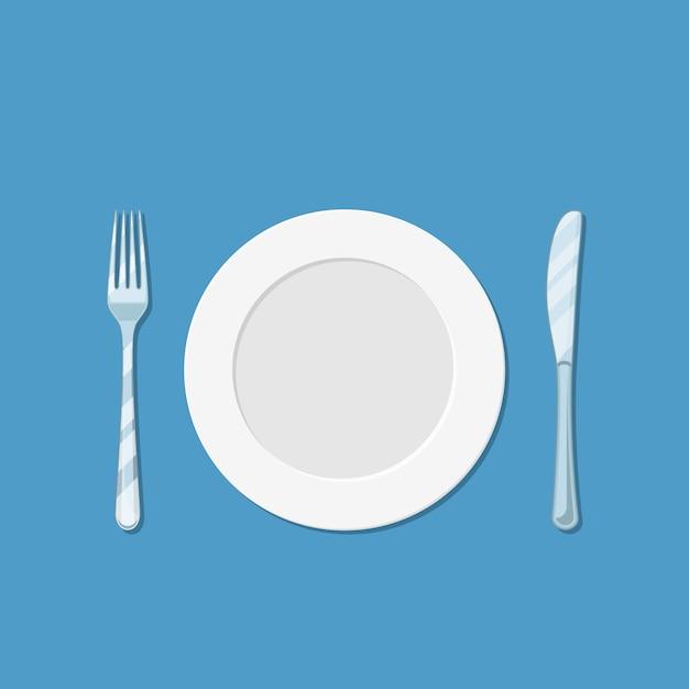 Teller mit messer und gabel Premium Vektoren