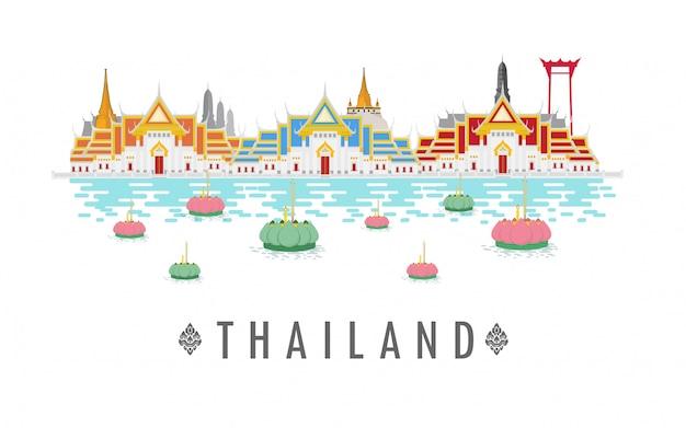 Tempel in thailand und grenzsteine und reiseplatz. Premium Vektoren