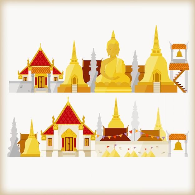 Tempel in thailand Premium Vektoren