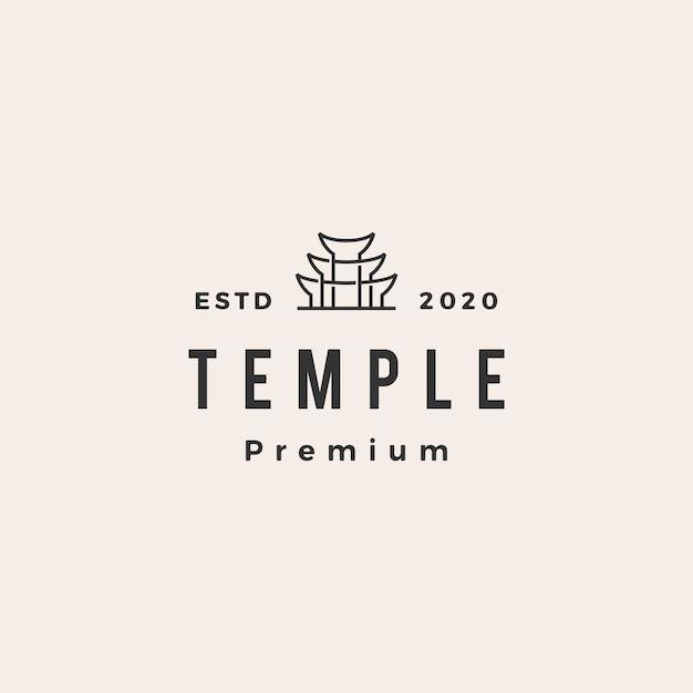 Tempel vintage logo symbol illustration Premium Vektoren