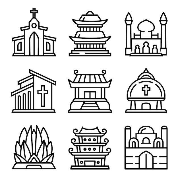 Tempelikonen eingestellt. entwurfssatz tempelvektorikonen lokalisiert Premium Vektoren