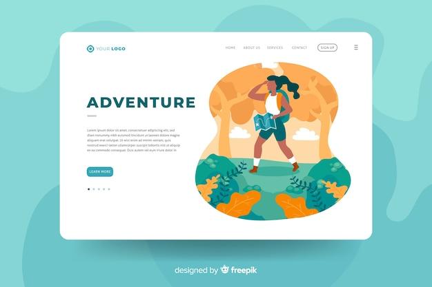 Template design für adventure landing page Kostenlosen Vektoren