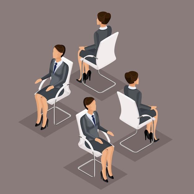 Tendenz-isometrische leute eingestellt, geschäftsfrau 3d im anzug, sitzend auf einem stuhl, einer vorderansicht und einer hinteren ansicht lokalisiert. vektor-illustration Premium Vektoren