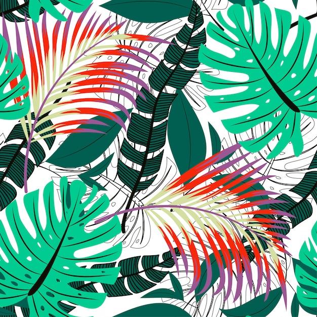 Tendenzielles helles nahtloses muster mit bunten tropischen blättern und pflanzen Premium Vektoren