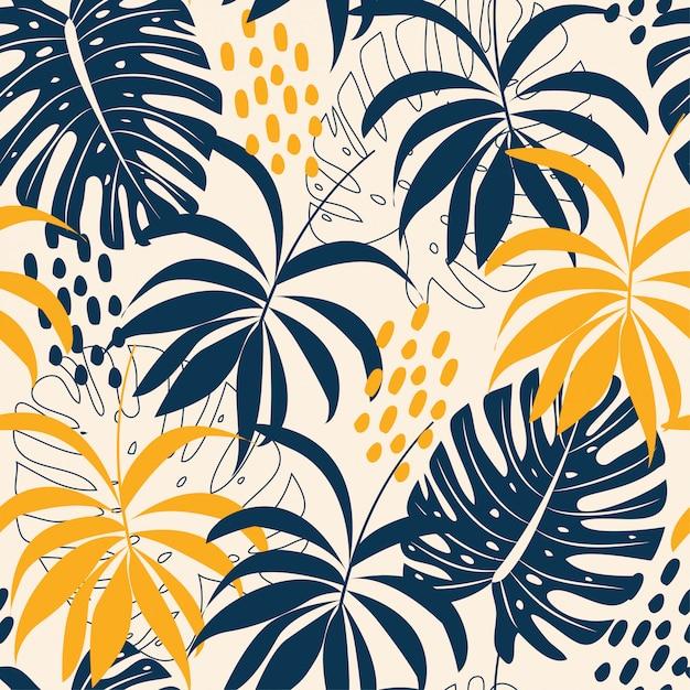 Tendenzieren sie abstraktes nahtloses muster mit bunten tropischen blättern und anlagen auf pastell Premium Vektoren