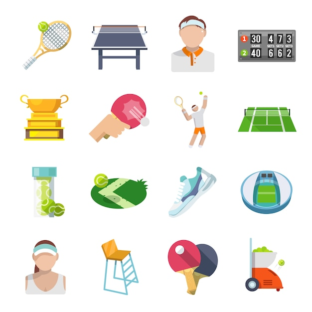 Tennis icons flat set Kostenlosen Vektoren