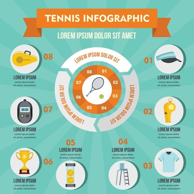 Tennis infographik konzept. Premium Vektoren