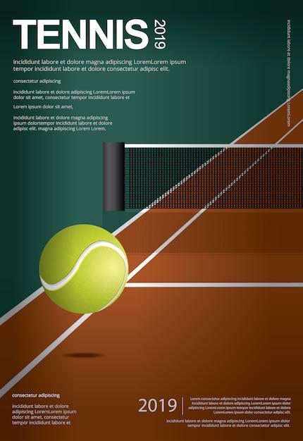 Tennis-meisterschafts-plakatillustration Premium Vektoren