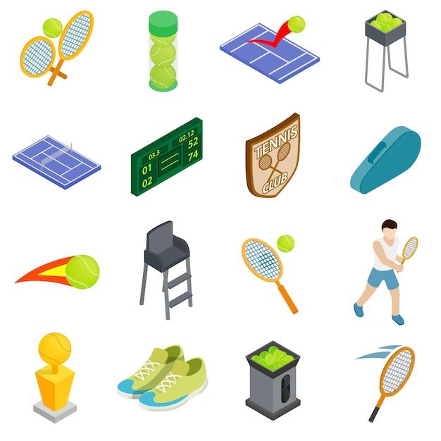 Tennisikonen stellten in die isometrische art 3d ein, die auf weißem hintergrund lokalisiert wurde Premium Vektoren