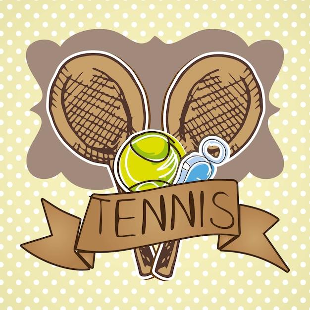 Tennisikonen über beige hintergrundvektorillustration Premium Vektoren