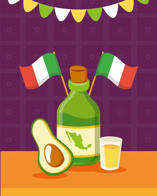 Tequila-flasche und avocado Kostenlosen Vektoren