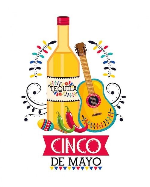 Tequila mit gitarre und maracas bis zum mexikanischen event Premium Vektoren