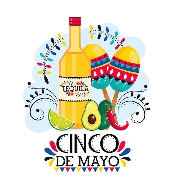 Tequila mit maracas und avocado zum mexikanischen ereignis Premium Vektoren