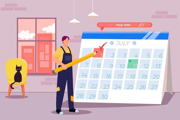 Terminbuchung mit kalender Kostenlosen Vektoren