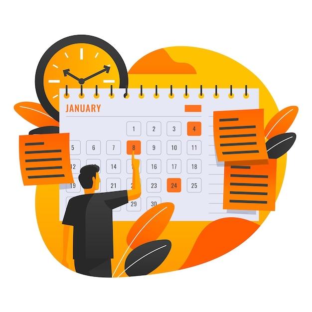 Terminbuchung mit mann und kalender Kostenlosen Vektoren