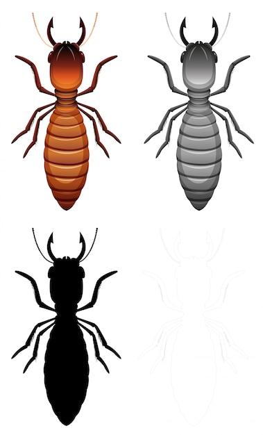 Termiten-zeichensatz Kostenlosen Vektoren