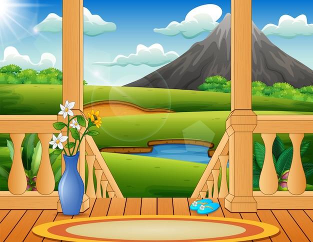 Terrasse mit blick auf eine wunderschöne naturlandschaft Premium Vektoren