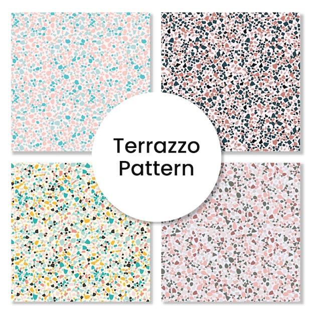 Terrazzo-musterset - nahtlose mustersammlung Premium Vektoren