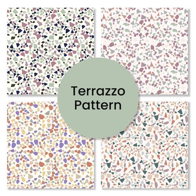 Terrazzo-musterset. Premium Vektoren