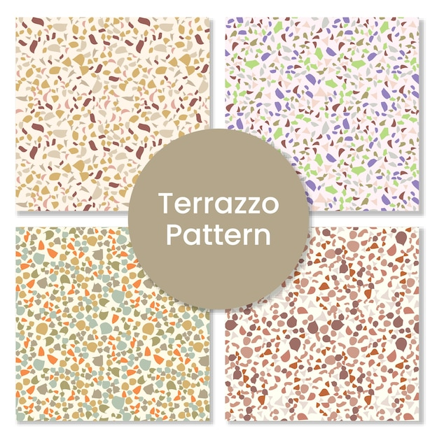Terrazzo nahtloses muster mit abstrakten formen. Premium Vektoren