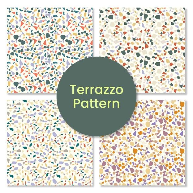 Terrazzomuster mit mosaikformen. Premium Vektoren
