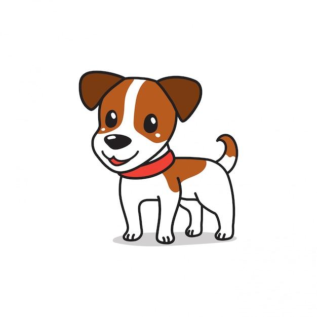 Terrierhund des netten jack russell der zeichentrickfilm-figur Premium Vektoren