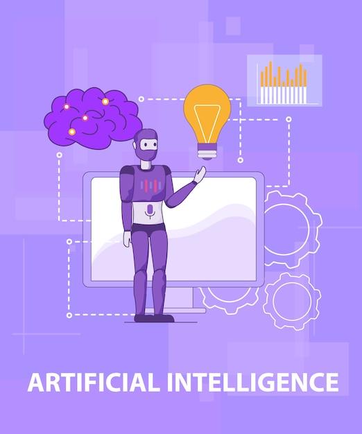 Testen sie die intelligente selbstlernende künstliche intelligenz Premium Vektoren