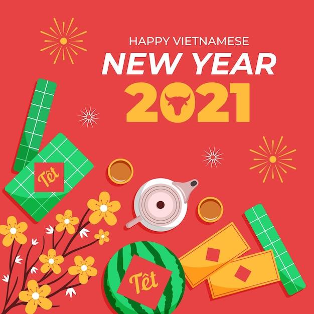 Têt (vietnamesisches neujahr) flacher designhintergrund Premium Vektoren