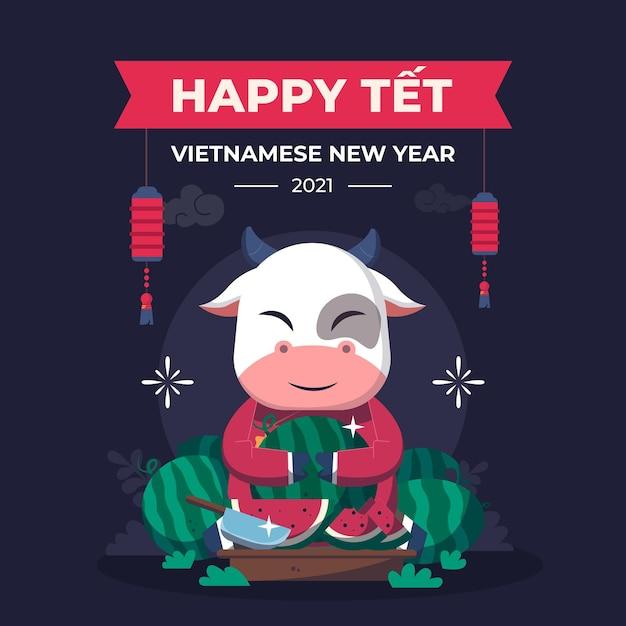Têt vietnamesisches neujahr im flachen design Premium Vektoren
