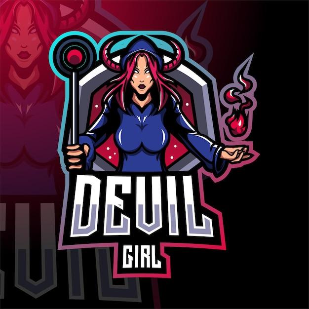 Teufel mädchen esport maskottchen logo design Premium Vektoren
