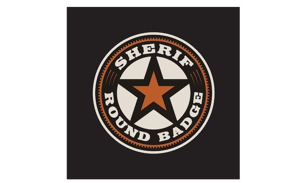 Texas sheriff / cowboy-abzeichen-logo-design Premium Vektoren