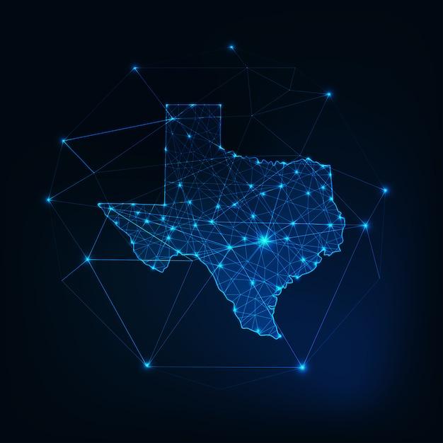 Texas-staat usa-karte glühender schattenbildentwurf gemacht von den sternlinien punkten Premium Vektoren