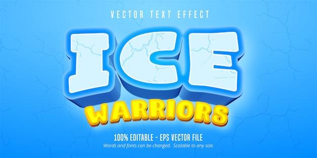 Text des eiskriegers, bearbeitbarer texteffekt im cartoon-spielstil Premium Vektoren