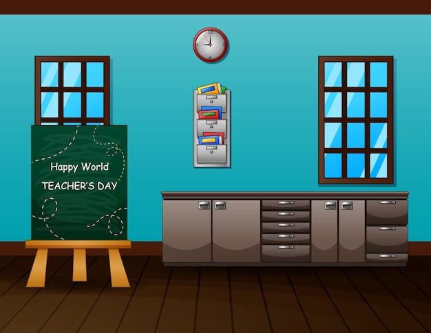 Text des weltlehrertags an der tafel im klassenzimmer Premium Vektoren