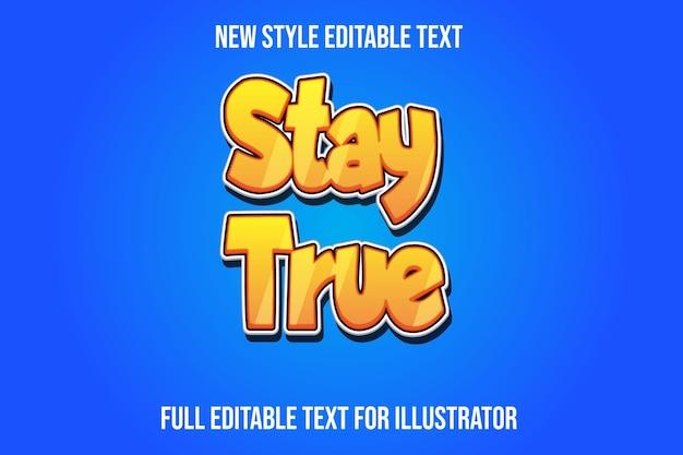 Text effekt 3d bleiben wahre farbe gelb und weiß farbverlauf Premium Vektoren