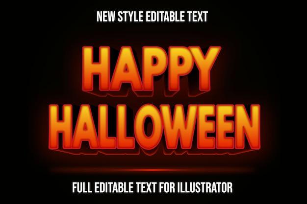 Text effekt 3d glücklich halloween farbe orange und schwarz farbverlauf Premium Vektoren