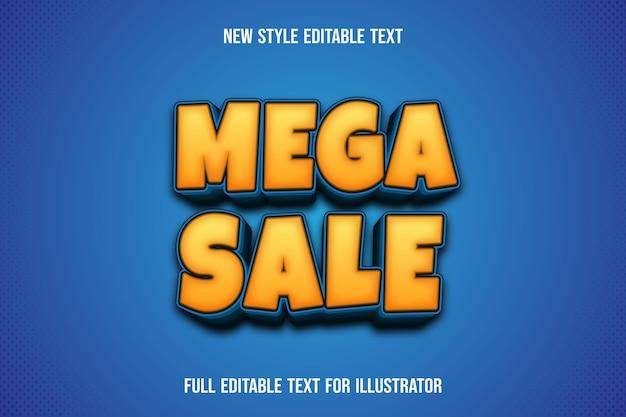 Text effekt 3d mega sale farbe gelb und blau farbverlauf Premium Vektoren